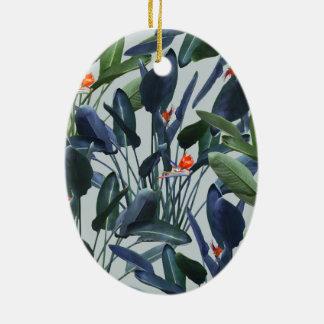 Bird of Paradise Pattern V2 oval ornament