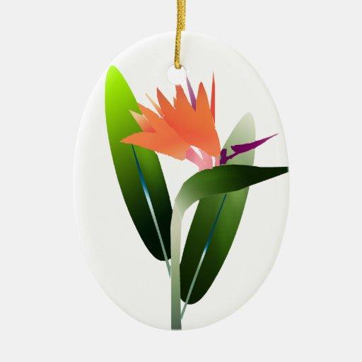 Bird of Paradise Silk Screen Christmas Tree Ornaments