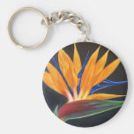 Bird Of Paradise Tropical Flower Painting - Multi Basic Round Button Keychain
