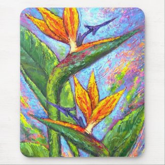 Bird Of Paradise Tropical Flower Painting - Multi mousepad