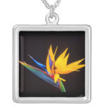 Bird of Paradise: Tropical Flower Square Pendant Necklace