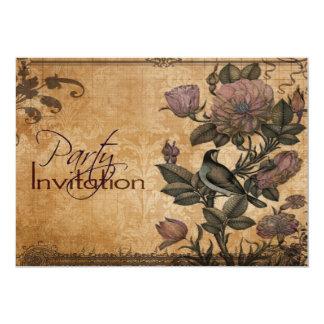 Bird of Paradise Vintage Floral Elegant Party Card