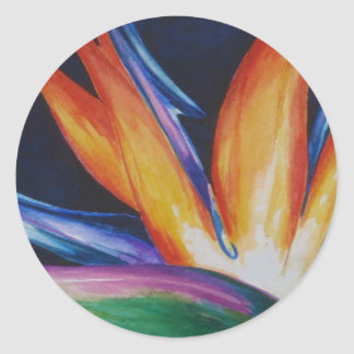 Bird of Paradise Watercolor Art Classic Round Sticker