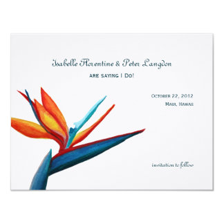 Bird of Paradise Watercolor Save the Date Card