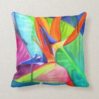 Bird of Paradise watercolour modern flower art Throw Pillow