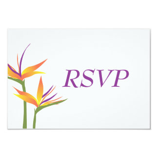 "Bird of Paradise Wedding RSVP Card 3.5"" X 5"" Invitation Card"
