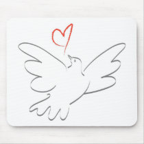 Bird of Peace and Heart Mouse Pad