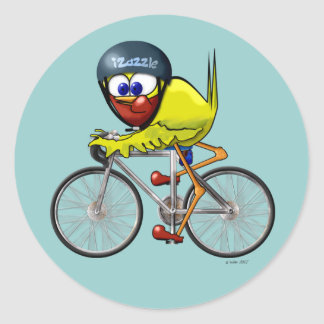 Bird on a Bike Classic Round Sticker