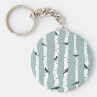 Bird on a birch keychain