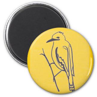 Bird on a branch 2 inch round magnet