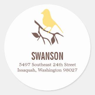 Bird on a Branch Address Label Round Stickers