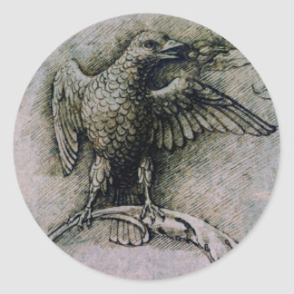 Bird on a branch by Andrea Mantegna Classic Round Sticker