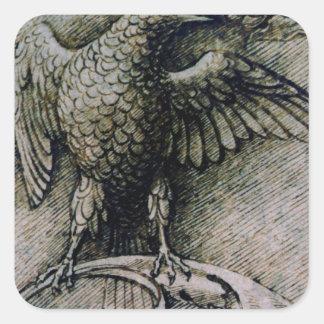 Bird on a branch by Andrea Mantegna Square Sticker