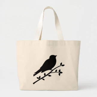 Bird on a Branch Silhouette Tote Bag