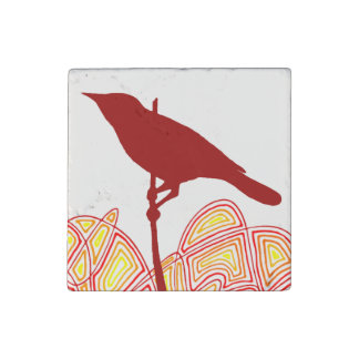 Bird On A Branch Stone Magnet
