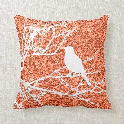 Bird on a Branch, White Against Coral Orange Throw Pillow