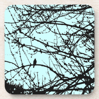 Bird on a Maple - blue Drink Coaster