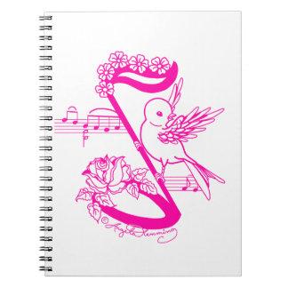 Bird On A Musical Note Pink Spiral Notebook