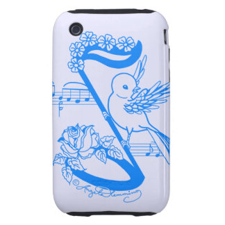 Bird On A Musical Note With Flowers iPhone 3 Tough Cover