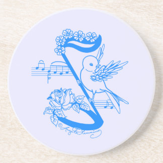 Bird On A Musical Note With Flowers Drink Coaster