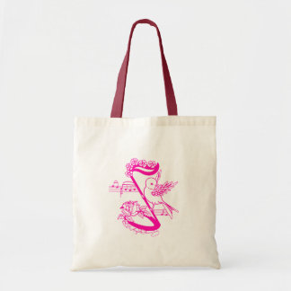 Bird On A Musical Note With Flowers Pink Budget Tote Bag