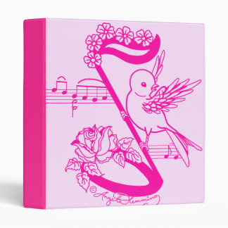 Bird On A Musical Note With Flowers Pink Binder