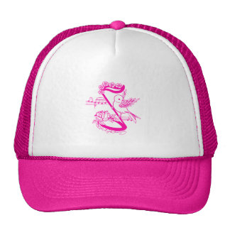 Bird On A Musical Note With Flowers Pink Trucker Hat