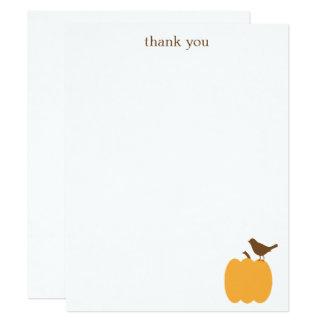 Bird on a Pumpkin Flat Thank You Note Cards