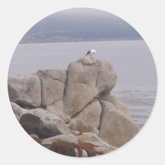 Bird on a Rock Classic Round Sticker
