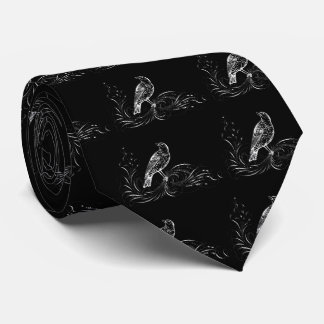 Bird on a Scroll (Black/White) Neck Tie