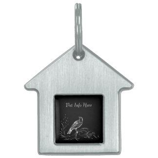 Bird on a Scroll (Black/White) Pet ID Tag