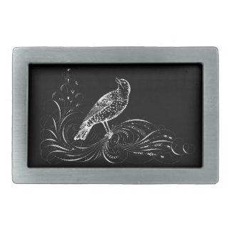 Bird on a Scroll (Black/White) Rectangular Belt Buckle