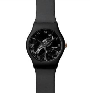 Bird on a Scroll (Black/White) Wristwatch