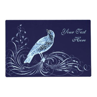 Bird on a Scroll (Blue) Placemat