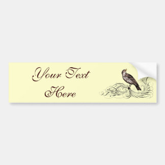 Bird on a Scroll (Brown) Bumper Stickers