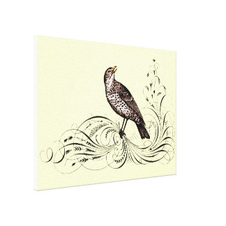 Bird on a Scroll (Brown) Canvas Print