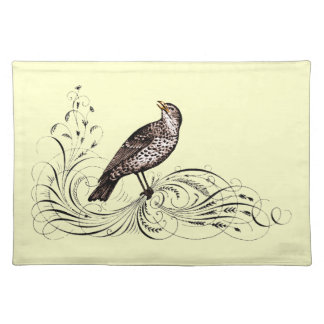 Bird on a Scroll (Brown) Cloth Placemat