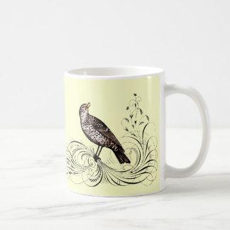 Bird on a Scroll (Brown) Coffee Mug