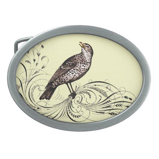 Bird on a Scroll (Brown) Oval Belt Buckle