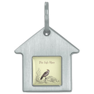 Bird on a Scroll (Brown) Pet Name Tag