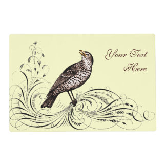 Bird on a Scroll (Brown) Placemat