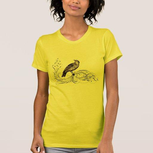 Bird on a Scroll (Brown) T-Shirt