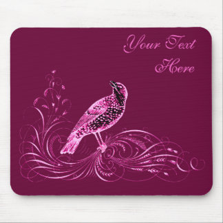 Bird on a Scroll (Pink) Mouse Pad