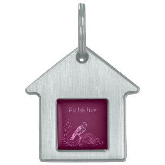 Bird on a Scroll (Pink) Pet Tag
