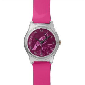 Bird on a Scroll (Pink) Wrist Watches