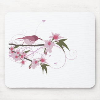 bird on a tree branch with flowers 2 mouse pad