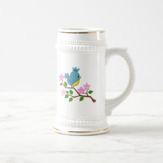 Bird on a Tree Limb with Spring Flowers Beer Stein