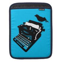 Bird on a Typewriter iPad Sleeve (blue background)