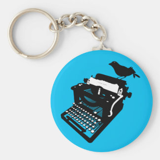 Bird on a Typewriter Keychain (blue background)