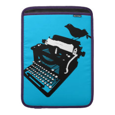Bird On A Typewriter Macbook Sleeve (blue Bckgrd) at Zazzle